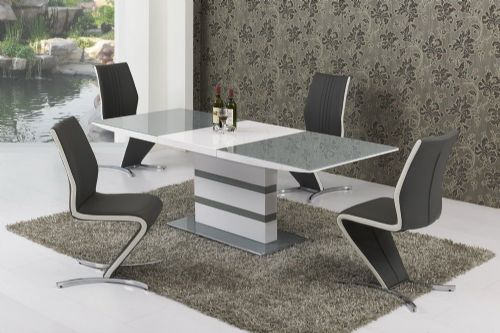 K2 Grey & White Small or Large Extending Table & Izabella Chairs